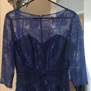 Lace overlay royal blue dress